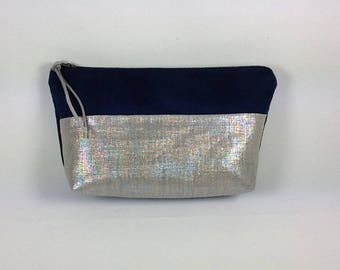 Navy Blue clutch suede and linen iridescent women