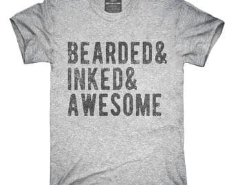Bearded Inked and Awesome Tattoo T-Shirt, Hoodie, Tank Top, Gifts