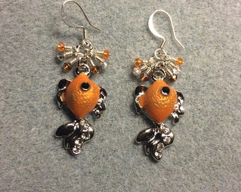 Orange and silver enamel goldfish charm earrings adorned with tiny dangling orange and silver Chinese crystal beads.