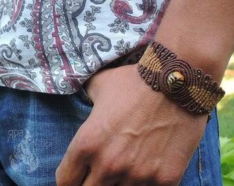 Boho bracelet Mens bracelet Macrame bracelet Gypsy bracelet Tribal bracelet Gift bracelet Brown bracelet for him Gift ideas boyfriend
