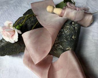 PINK PEARL hand dyed silk habotai ribbon / plant dyed / eco dyed / wedding ribbon / styling ribbon / photo prop / pure silk ribbon
