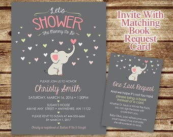 Elephant Baby Shower Invitation -Printed Invitation - Mommy to Be Shower Invitation - Elephant Invite - Elephant Baby Shower