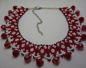 Beaded Necklace/Handmade necklace/red and white necklace/Seedbeads necklace/Handmade necklace/red and white necklace