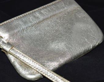 Gold purse / soft leather / strap / zipper closure / gold / small purse / change purse / evening purse /