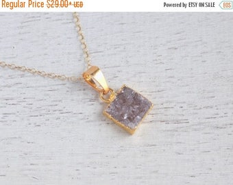 SUMMER SALE Minimalist Necklace, Druzy Necklace, Gray Druzy Necklace, Natural Drusy, Square Pendant, Gold Layer Necklace, Christmas Gift For