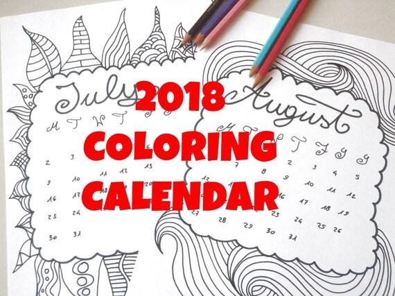 Drawing Calendar 2018 : Calendario da colorare adulti bambini mesi anno diario