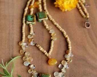 Boho Necklace, Green and Gold Natural Stone and Glass Necklace, Beaded Necklace