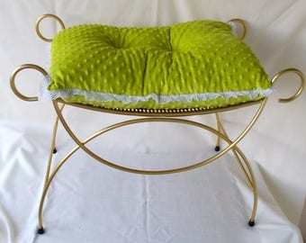 Vintage Wire Vanity Stool Bench, Hollywood Regency