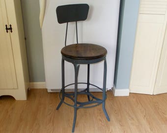 Vintage Industrial Stool, High Back With Oak Seat