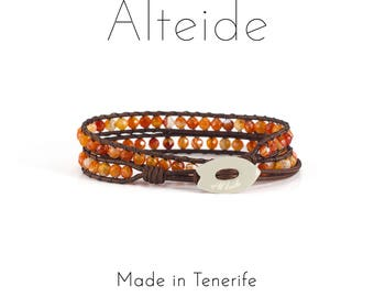 Bracelet Linfa del Drago 2 waves - Alteide - made in Tenerife - surf inspired - 925 Silver - man woman - Red Agate