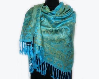 Mint Scarf, Paisley Boho Shawl, Tribal Scarf, Large Pashmina Scarf, Fashion Shawl, Mothers Day Gift, Tribal Women Scarf
