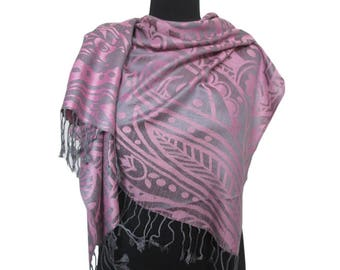 Pink Gray Scarf, Abstract Shawl, Christmas Gifts for Women, Pashmina Scarf, Fashion Boho Shawl, Long Scarf, Gift for Girlfriend