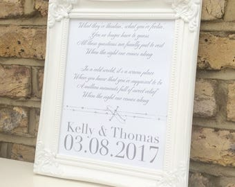 Your song lyrics or poem custom print is a perfect gift for birthdays, Weddings, anniversaries, framed print.
