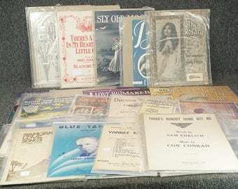 Assorted Collection Set Of 30 Vintage Sheet Music 1900'S - 1930'S