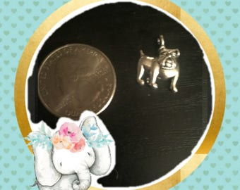 English Bulldog dog lover Silver Bracelet Charm / Planner Charm