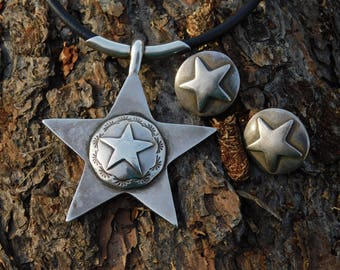 ARNOLD GOLDSTEIN sterling huge concho star reversible rare necklace leather and silver, vintage sold out, earrings available.  Solid heavy