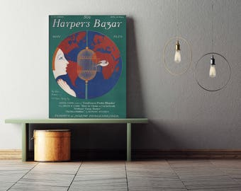 Harper's Bazaar Poster| Vintage Magazine| Vintage Poster| Harpers Bazaar Print| Art Decor| 1920s| Harpers Bazaar Cover| Fashion Print|VMA012
