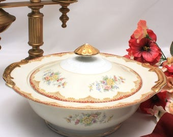 Kikusui Porcelain Fine China Covered Serving Bowl, Burgundy Red and Gold Trim With Floral Motif, Bridal Luncheon, Holiday Dinnerware, KIK3