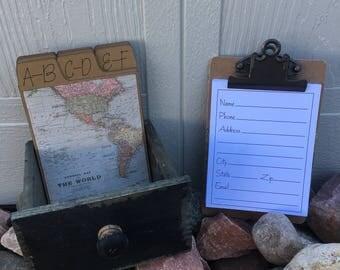Address Box, Address Book, Wedding Guest Book, Map, World, Travel, Vintage