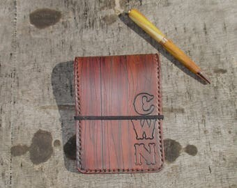 Personalized Leather Notebook Pocket Book  CoverWood Appearance
