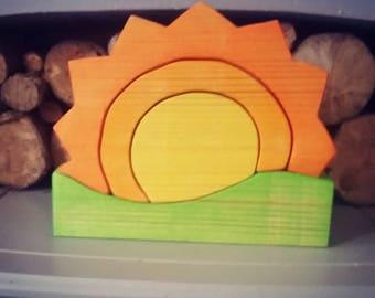 Large Wooden sunset stacker puzzle wood toy, montessori, waldorf, handmade