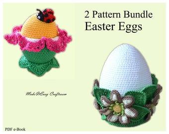 Easter crochet pattern bundle Large crochet egg Easter ornament Crochet egg ornament Collectable egg Crochet Easter pattern Digital download
