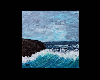 Marine landscape painting - wave - on acrylic 3D frame