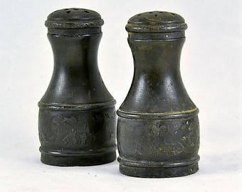 Salt Pepper Shakers Tarnished Silver Pewter - Antique Victorian Era - Gothic - Screw Top Lids