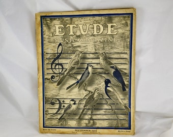 THE ETUDE Music Magazine Sept. 1923 Almost Antique Magazine - Sheet Music - Era Period Advertising - Reviews & Instruction - Piano