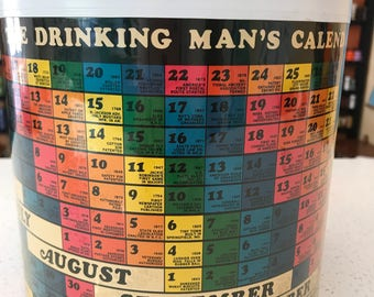 Thermo-Serv Drinking Man's Calendar ICE BUCKET 1960's Never Drink Without Good Reason 60's Mid Century Mod West Bend