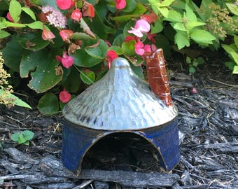 Pottery Toad Cottage, Garden Fairy Home, Toad House with chimney, lizard habitat, hand carved shingle roof