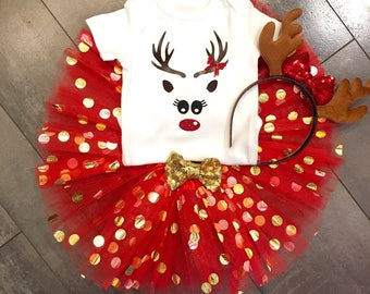 Red and gold polka dot tulle reindeer tutu skirt set with headband tutu set, red and gold reindeer outfit, quick shipping