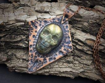 Labradorite Skull Necklace   Copper Smithed   Copper Jewelry
