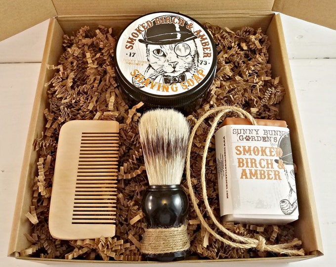 Smoked Birch Amber Mens Shaving Soap Gift Set, Vegan Soap Gift Basket For Men, Homemade Soap on A Rope Shaving Soap for Men, Groomsman Gifts