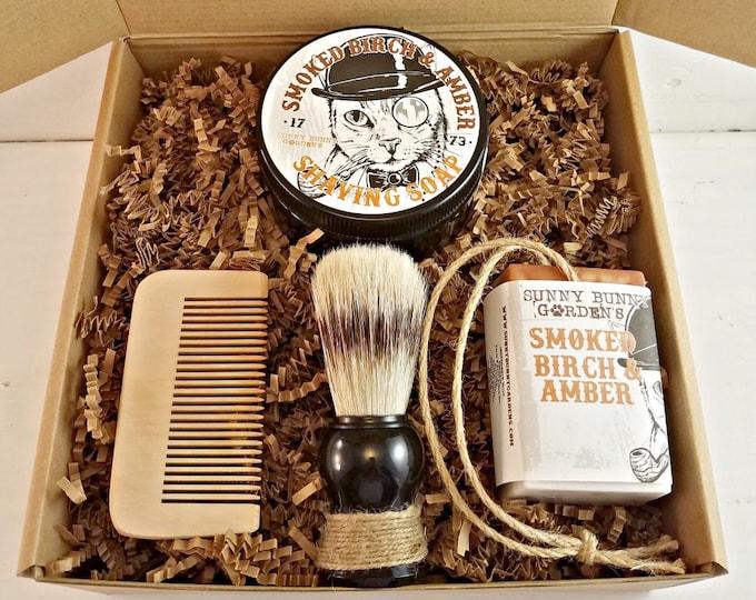 Smoked Birch Amber Mens Shaving Soap Gift Set, Vegan Soap Gift Basket For Men, Homemade Soap on A Rope Shaving Soap for Men, Groomsman Gifts