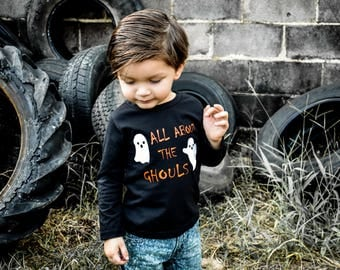 Boys Halloween Shirt, All the Ghouls love me shirt, Boys Ghost Shirt, Toddler Boy Halloween Shirt, Toddler Boy Shirt, Halloween Shirt, Black