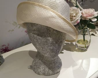 Asymmetric Straw Cloche Hat