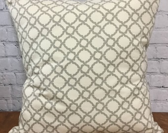Beige and Gray Euro Cover, 26x26, Geometric Pattern, Gray Trellis Pattern Pillow