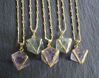 Natural Fluorite Crystal Diamond Pendant Necklace