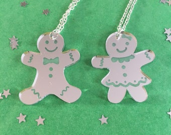 Gingerbread Mr and Mrs Pendant Necklace