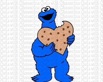 ON SALE Cookie Monster with Heart Sesame Street layered SVG Dxf and Png Files for Cutting Machines Silhouette, Cricut or Scan 'N' Cut