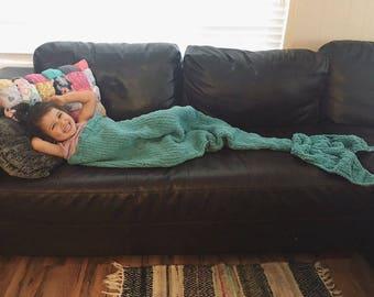 Mermaid Tail Blanket, Knit Sleeping Sack, Soft, Warm, Cuddly, Cozy, Naptime