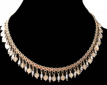 Estate Vintage Italian Gorgeous Mother Of Pearl 18'' Necklace In Sterling Silver Choker