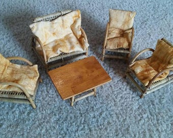 Vintage Wicker Doll House Furniture 5pc Set