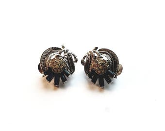 Vintage Crown Trifari Silver Leaf with Blue and Clear Crystal Rhinestone Clip On Earrings