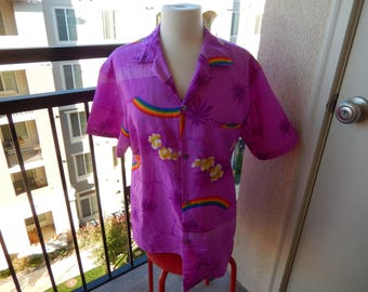 Helena's of Hawaii Aloha Shirt - Measurements Below