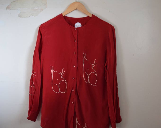 Pablo Red Silk Long Sleeve Shirt