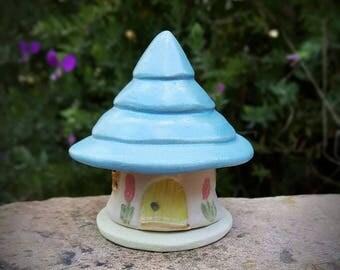 Handmade Stoneware Pottery Fairy House/ Pixie House/ Fairy Garden