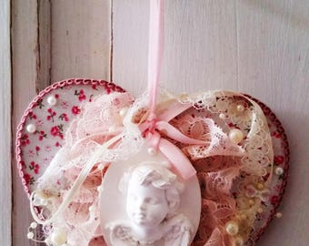 Hanging heart mind pink and white shabby chic