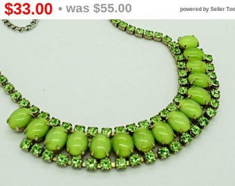 Green Givre Glass and Rhinestone Necklace High Fashion Statement Jewelry